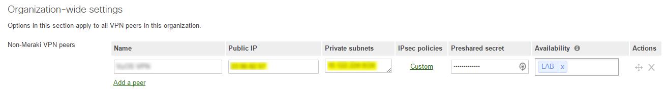 Setting up IPSEC Site-to-Site VPN on Cisco Meraki Security